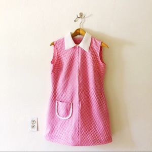 60s Pink w/ White Dots Contrast Collar Mini Dress